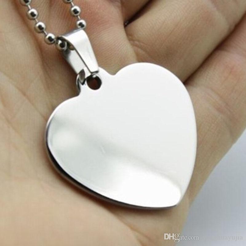 100pcs / lot animal coeur blanc acier inoxydable chien identité au nom de la mode miroir poli Dog Tags hommes pendentifs