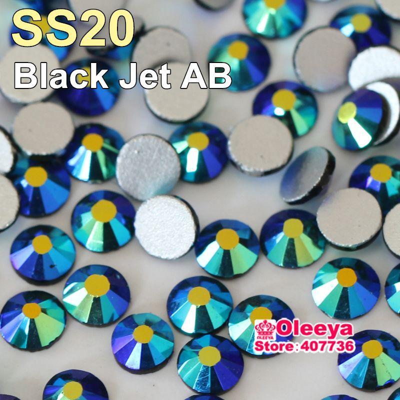 No Hotfix Rhinestone Black Jet AB SS20 (4.6-4.8mm) 3D Nail Art Stones1440pcs Flatback Loose Crystal Strass Y3121