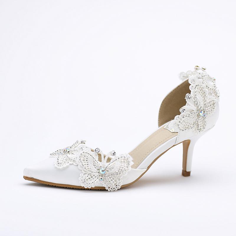 Kitten Heel Pointed Toe Bridal Shoes