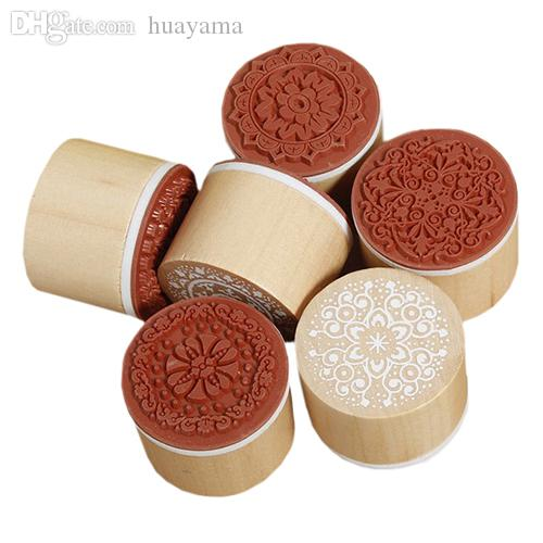 Wholesale-2016 New 6pcs/SET Assorted Vintage Floral Flower Pattern Round Wooden Rubber Stamp Scrapbook DIY 1OCQ Christmas Gift