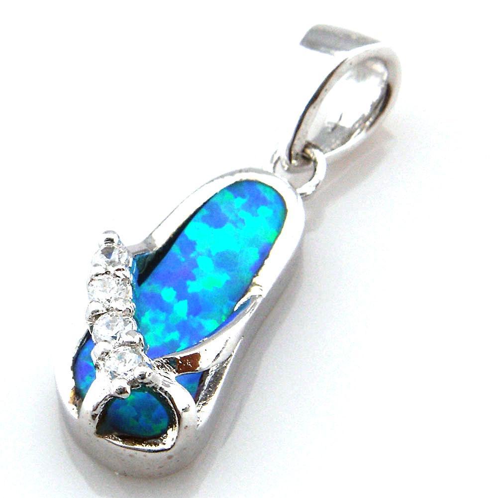Bijoux d'opale bleu avec pierre CZ; pendentif opale mexicain OP145B
