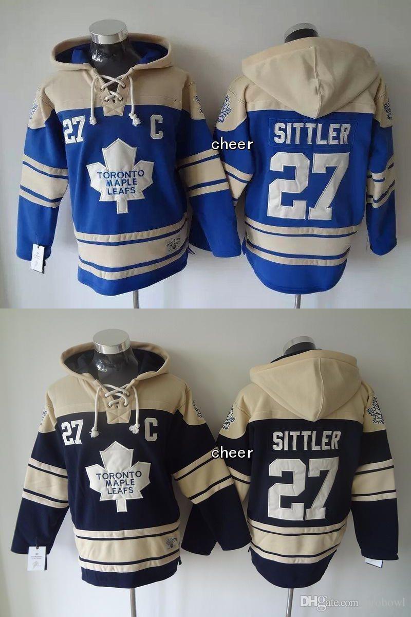 2015 Wholesale Men's Toronto Maple Leafs #27 sittler blue/dark blue Hooded Jerseys Hockey Hoodies Jerseys Sweatshirts, Free Shipping