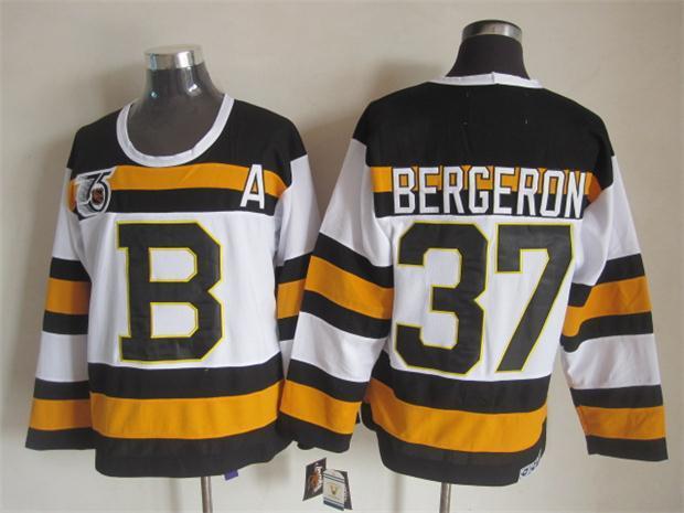 Top Qualität ! Männer Boston Bruins Eishockey-Trikots billig # 37 Patrice Bergeron Weiß 75. Jahrestag Retro- Weinlese CCM genähte Jerseys