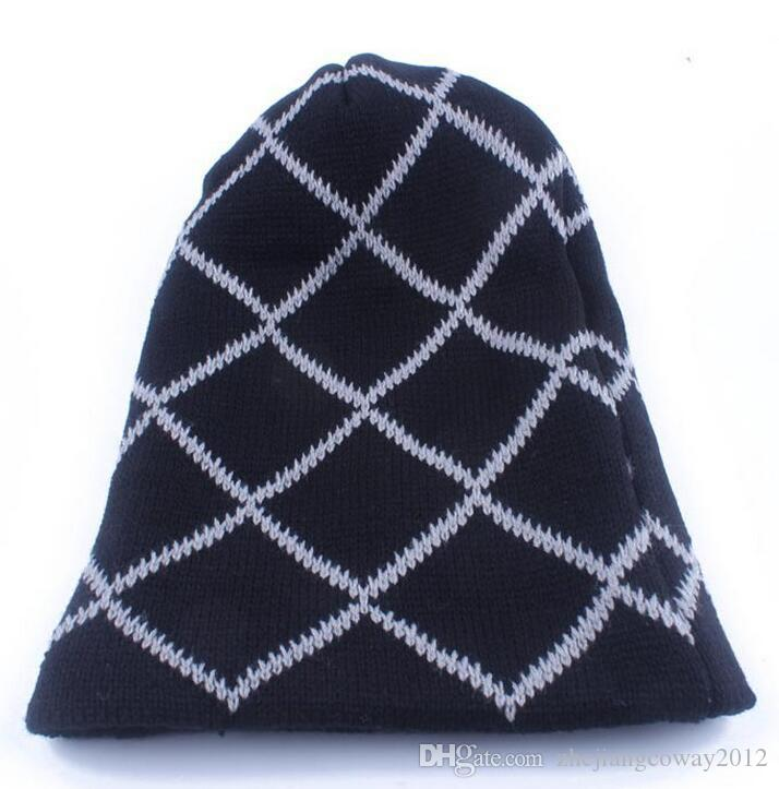 Winter Trendy Warm Hats Simple Fashion Plaid Style Chunky Soft