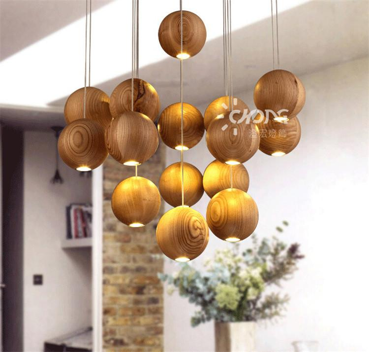 Native Wood Handmade Wooden Chandelier Hanging LED Pendant Lamp ...