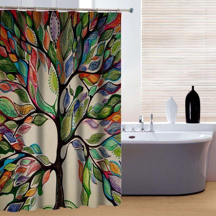 Nova marca New Custom 3D impresso Cortina de Chuveiro colorido grande árvore de poliéster personalizado cortina do banheiro
