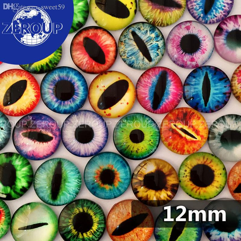 Wholesale-12mm Multicolor Dragon Eyes Pattern Round Shape Glass Dome Cabochon Flat Back Fit Cameo Settings Jewelry Embellishment 50pcs/lot