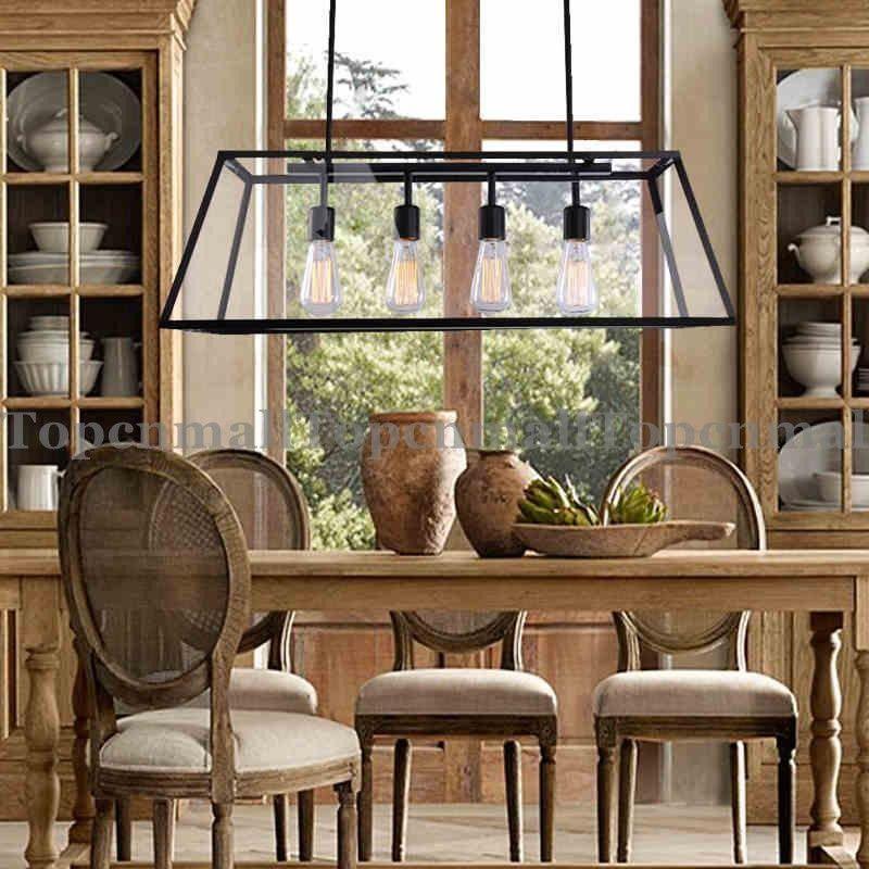 short description loft pendant lamp retro american industrial black iron rectangular chandelier living room dining room office light fixture - Rectangular Lighting Fixture Dining Room