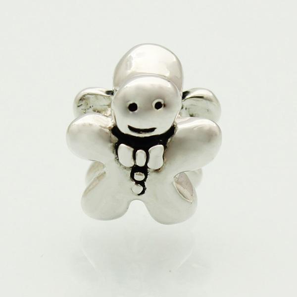 Пряничный Человек Печенье Металлический Слайдер Шарик Большое Отверстие Европейский Распорка Подвески Fit Pandora Chamilia Biagi Браслет