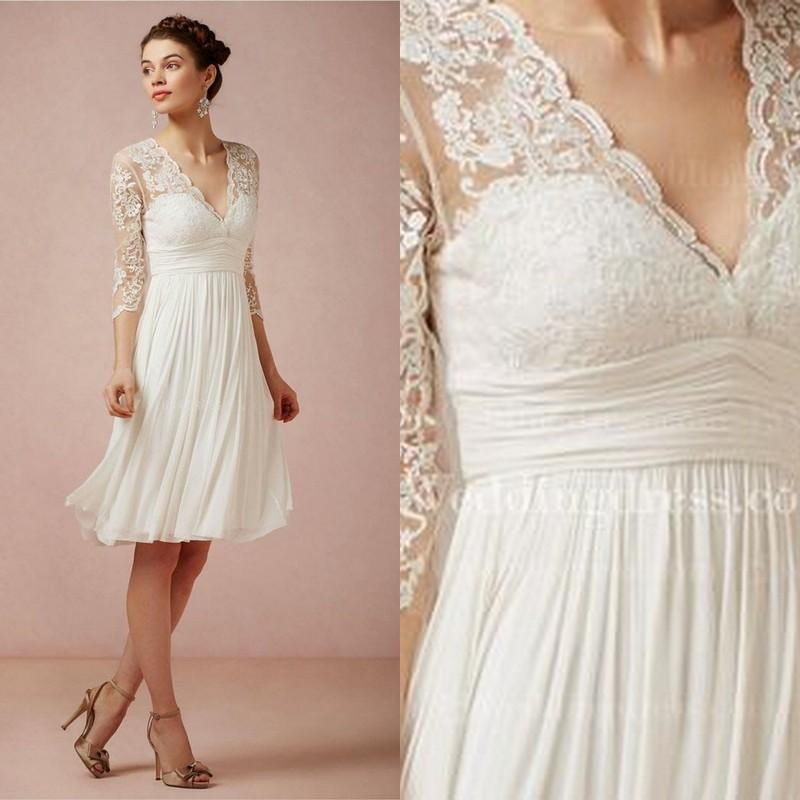 V neck 34 sleeves knee length wedding dresses 2015 chiffon lace v neck 34 sleeves knee length wedding dresses 2015 chiffon lace vintage beach bridal junglespirit