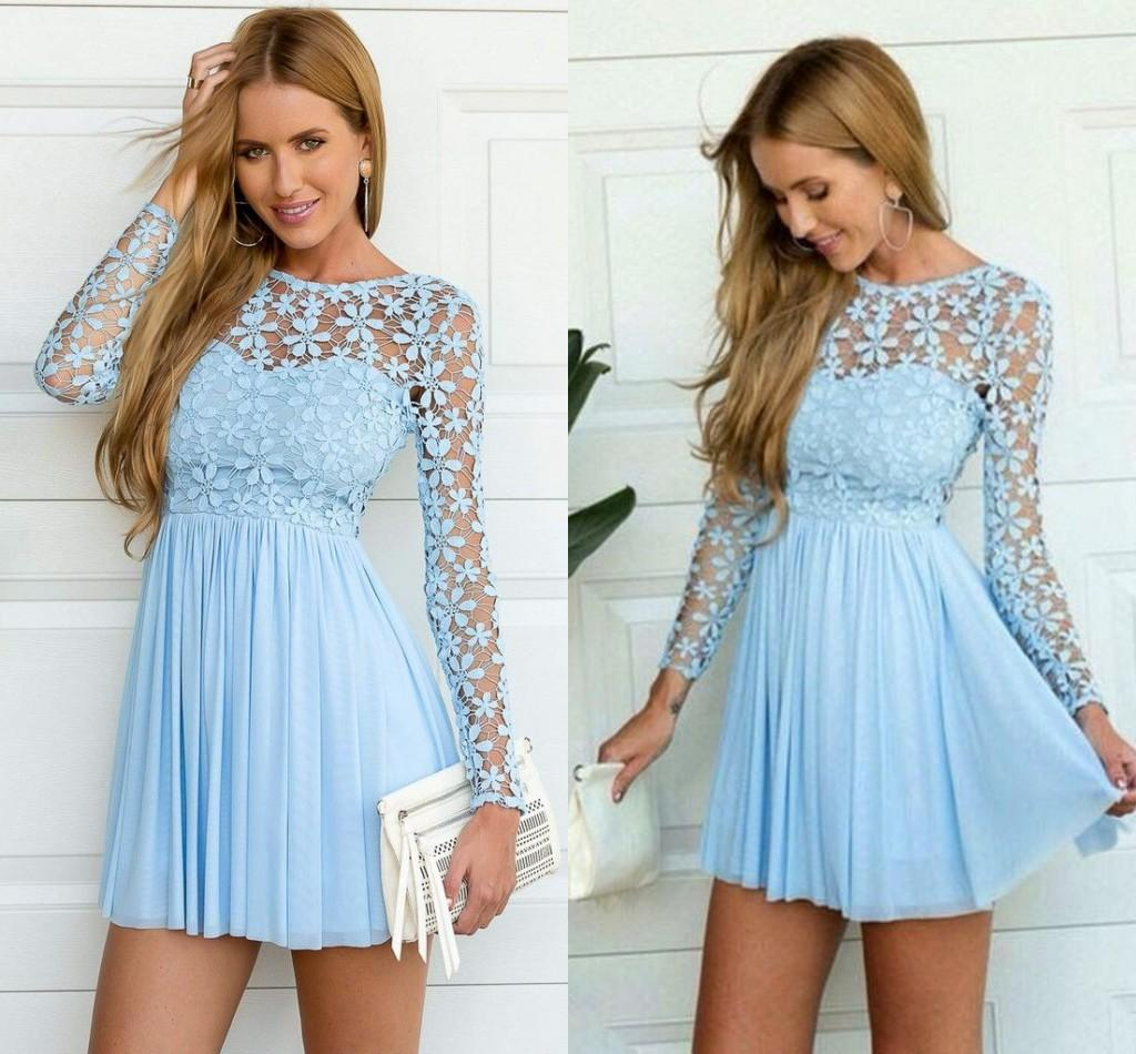 Light Blue Long Sleeve Crochet Tulle Skater Dress Cute Lace A Line Long Sleeve Prom Dresses Short Occasion Gown 1950s Prom Dresses 1980 Prom Dresses