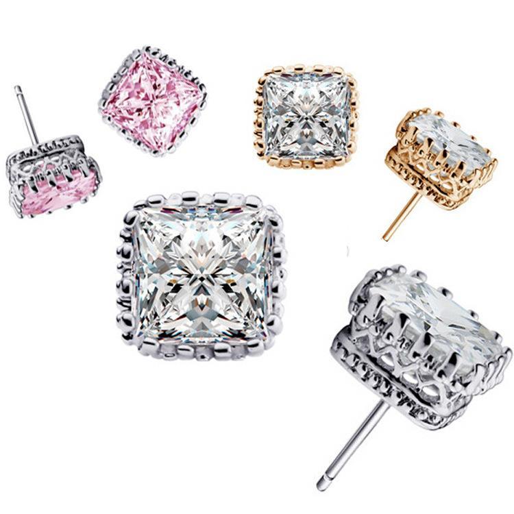 2016 밴드 새로운 웨딩 스터드 귀걸이 925 스털링 실버 CZ 시뮬레이션 다이아몬드 약혼 아름 다운 보석 크리스탈 귀 반지 무료 배송