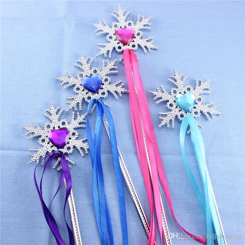 جديد وصول المجمدة هدية العصا السحرية الأميرة الجنية ندفة الثلج تصميم ماجيك الصولجانات عيد الميلاد تأثيري الجنية الصولجانات السحرية الصولجانات
