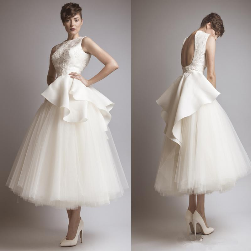 Vintage Style Backless Ankle Length Wedding Dresses Jewel Neck Appliques Satin Tulle A-line Bridal Gowns Custom Made W1063