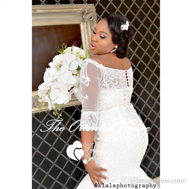 African Style Plus Size Wedding Dresses With 3/4 Long Sleeves 2017 ...