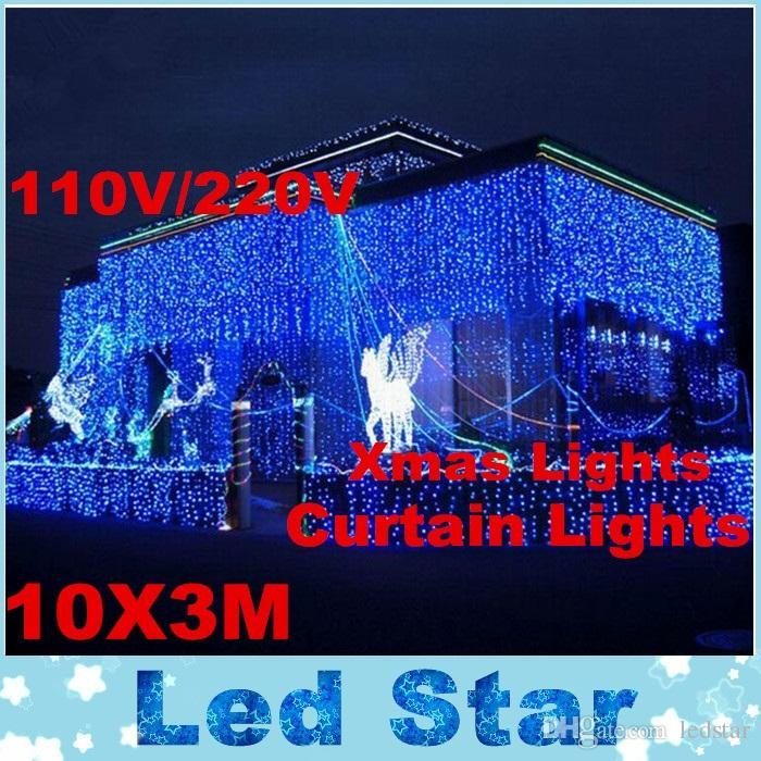 Rgb 10 متر × 3 متر led الستار ضوء في عيد الميلاد سلسلة الجنية أضواء الزفاف الخلفيات حزب الكرة فندق عروض الديكور 220 فولت 110 فولت