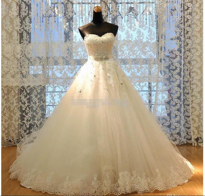Новейшие реальные изображения Принцесса A-Line Кружева Свадебные платья Аппликации W1420 Романтические свадебные платья Гробные камня ослепительный Crystal Modern Best