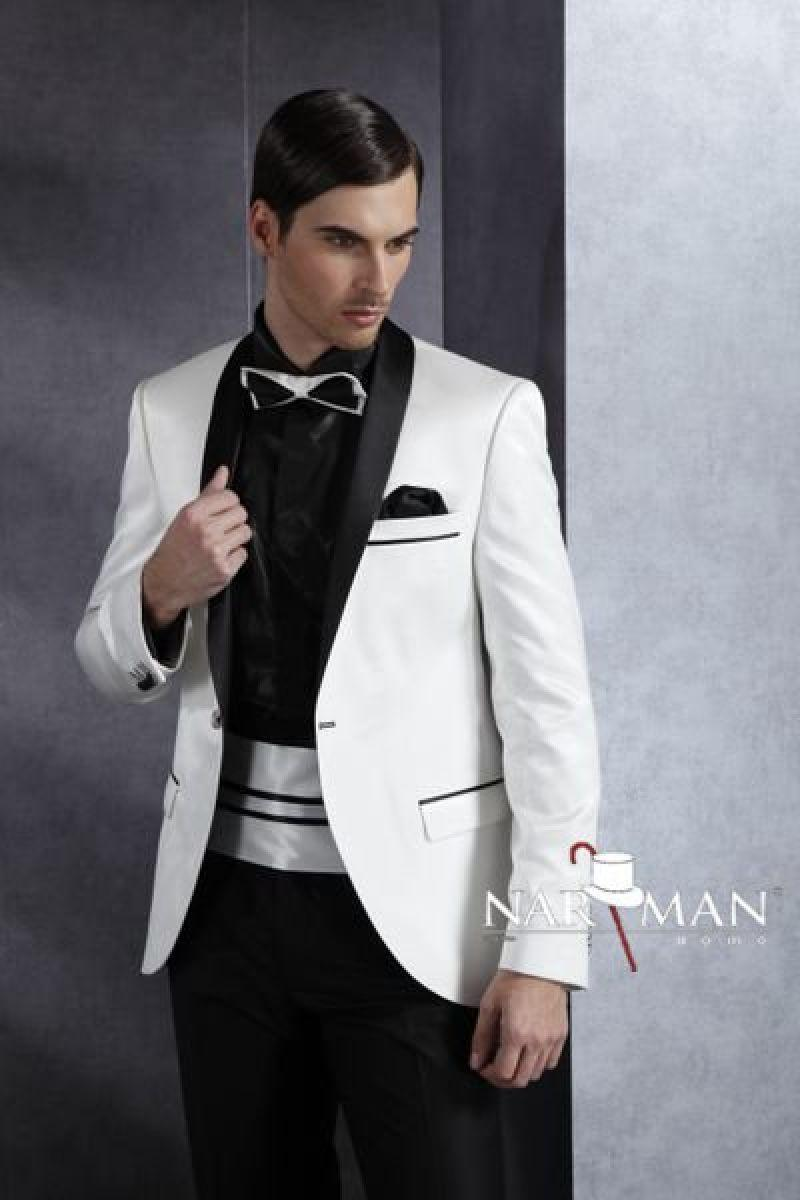 Meilleure vente One Button Châle Lape White White Groom Tuxedos Hommes Robes de mariée / promotion + pantalon + cravate + ceinture) No 01