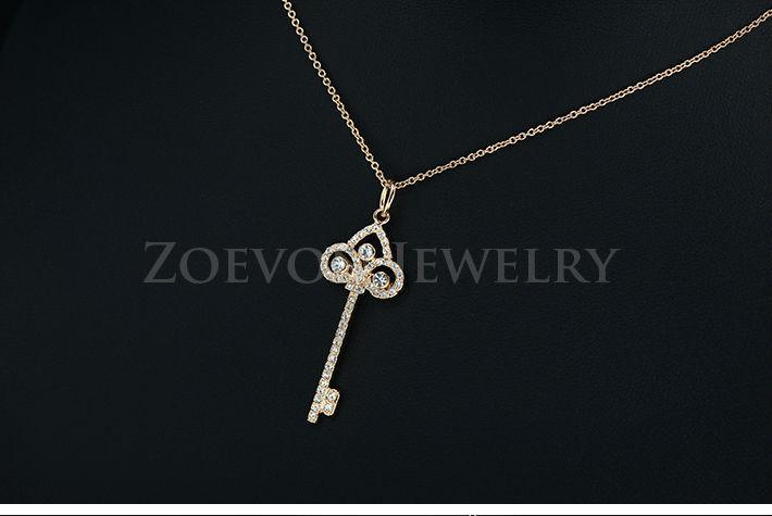 ZOEVON 2015 Rose Gold Plated and White Gold Plated Austrian Crystal iris Key Pendant Necklace Vintage Jewlery for Women