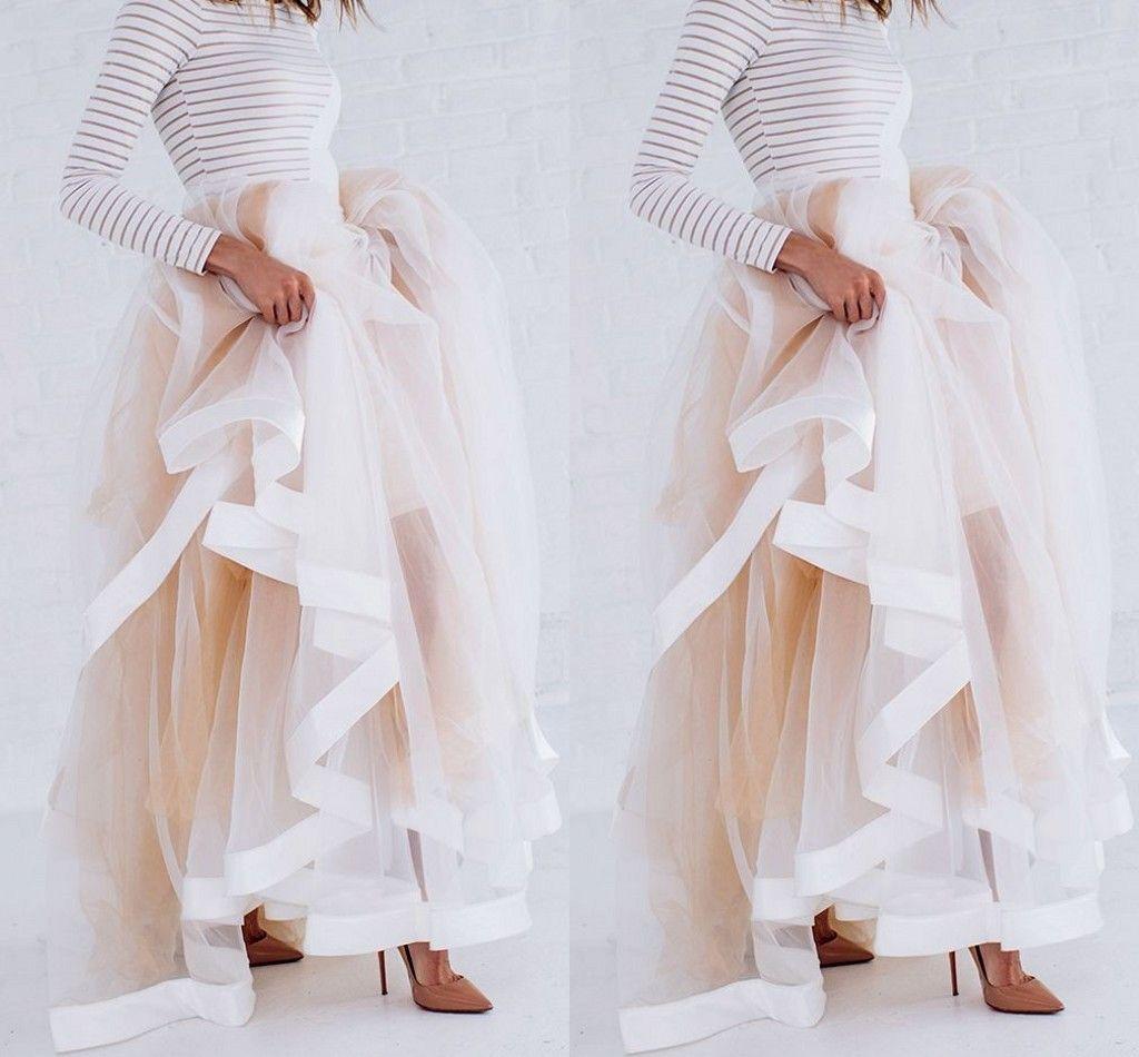New Design Tulle Maxi Saia com Borda de Fita de Cetim Champagne Ruffled Saias Elegantes para As Mulheres Sexy Mulher Saias Longas de Inverno