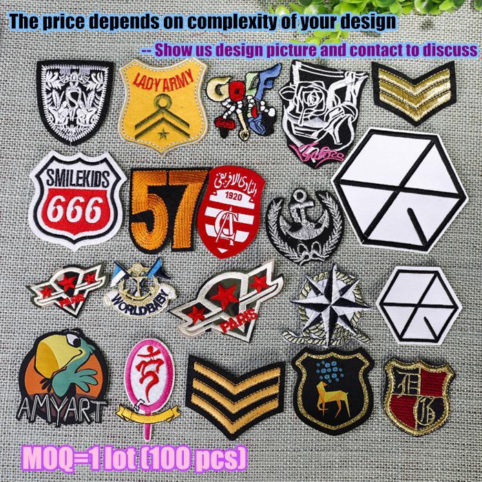Kişiselleştirilmiş demir işlemeli özel yamalar nakış özel logo askeri rozeti etiketi 100 adetgrup