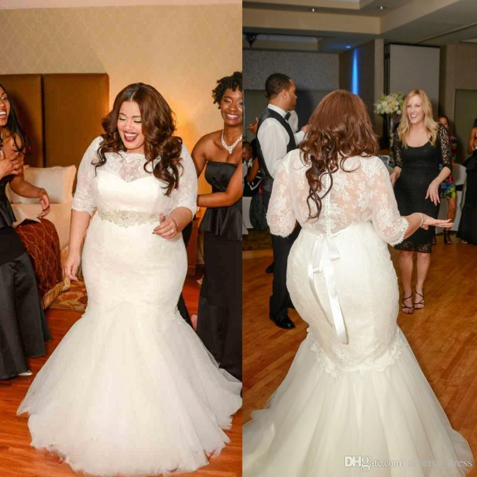 2019 Mermaid Lace Wedding Dresses With 3/4 Long Sleeves Vintage Plus Size Beaded Bridal Gowns Cheap Plus Size Sexy Sheer Dress Vestidos lace