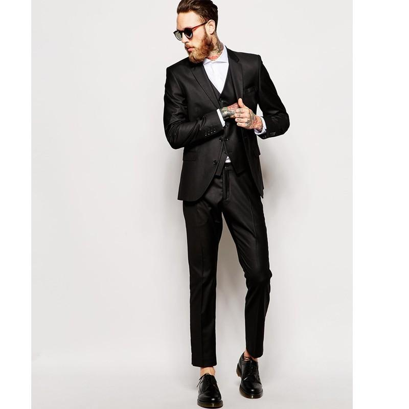 Cheap 2016 Modern Wedding Suits For Mens Black Groom Wears Two ...