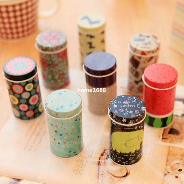 8 pezzi / Lotto Scatola di latta di stoccaggio Zakka organizer Piccola scatola di fiori decorativi Contenitore di oggetti di design da regalo regalo Novita famiglie 8719