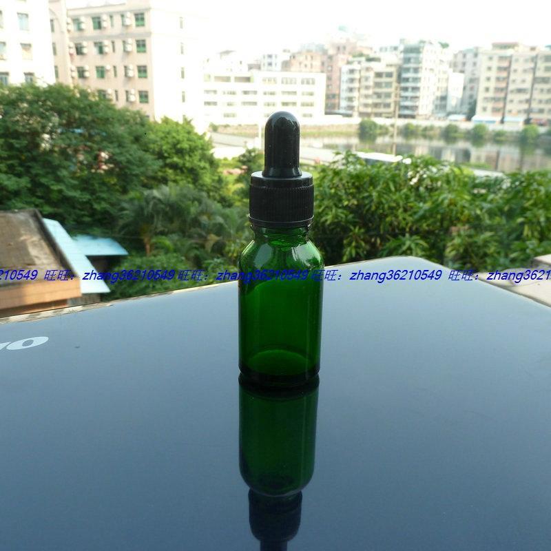 녹색 유리 에센셜 오일 병 15ml 검은 플라스틱 일반 dropper cap. 오일 바이알, 에센셜 오일 용기