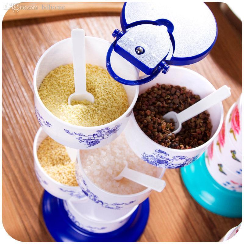 Contenitore di condimento della scatola della condimento del barattolo della spezia della pentola girevole verticale all'ingrosso-vanzlife e contenitore di salsa kithen della cucina