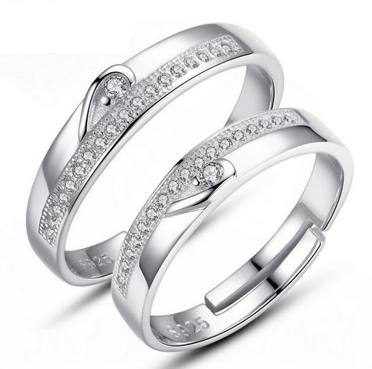 Rings Jewelry Silver Couple rings Hot Sale Crystal Charms Lovers Band Ring for Wedding Party jewelry wholesale Free Shipping 0320WH