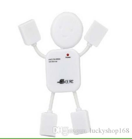 Portable Cute USB 2.0 Human Robot Man Shape 4 Port High-speed Mini Hub Split Extension Expansion Cable for PC Laptop wu