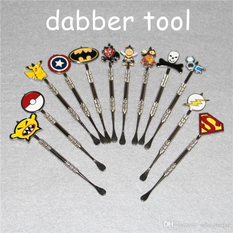 12colors 왁스 Dabber 도구와 패션 데님 스티커 Batman, Captain, superhero, Flash and Skull wax Dab tool 120mm Jars Tool