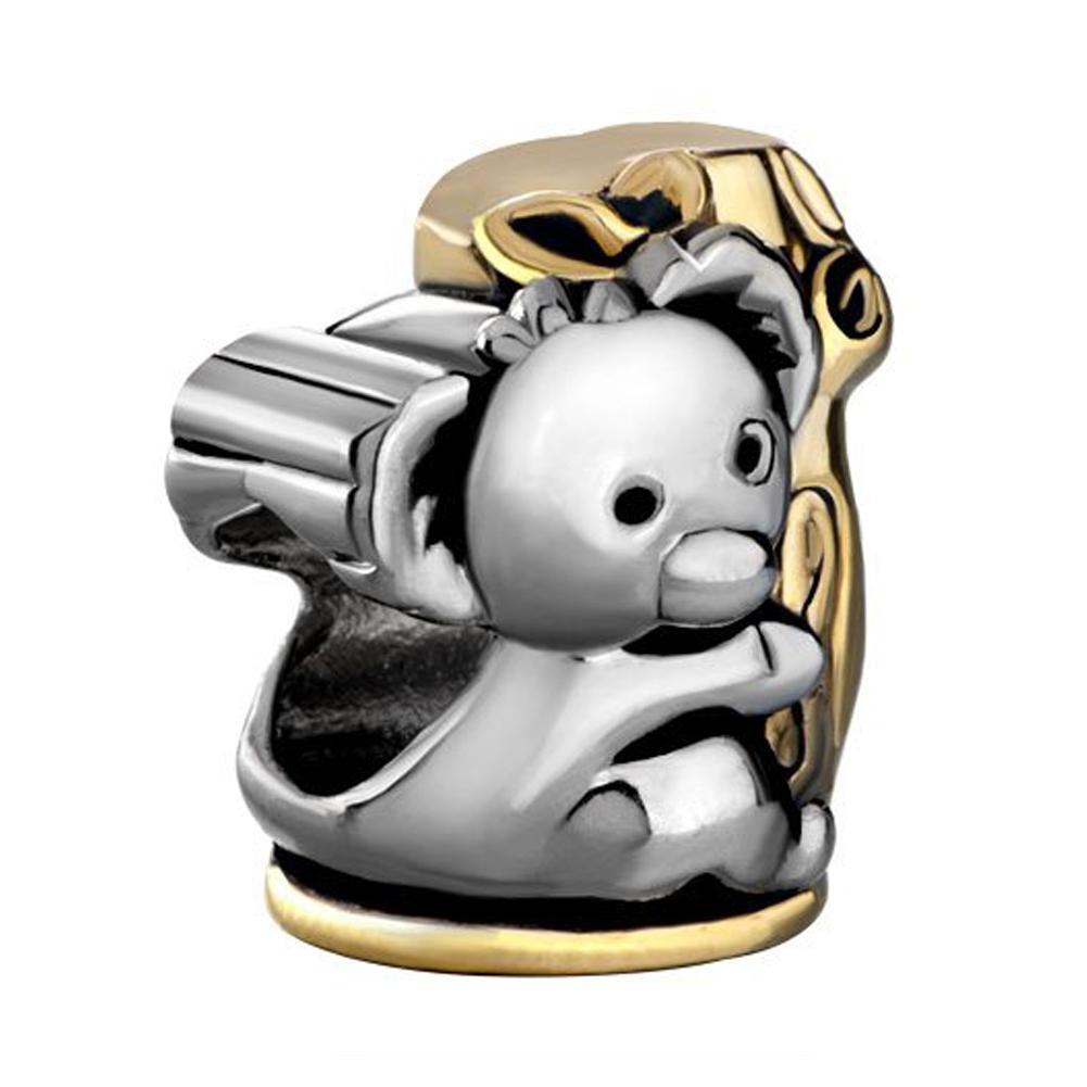 Коала Холдинг Рождественская елка бисера Шарм в родий серебряный цвет и золотое покрытие Fit Pandora браслет