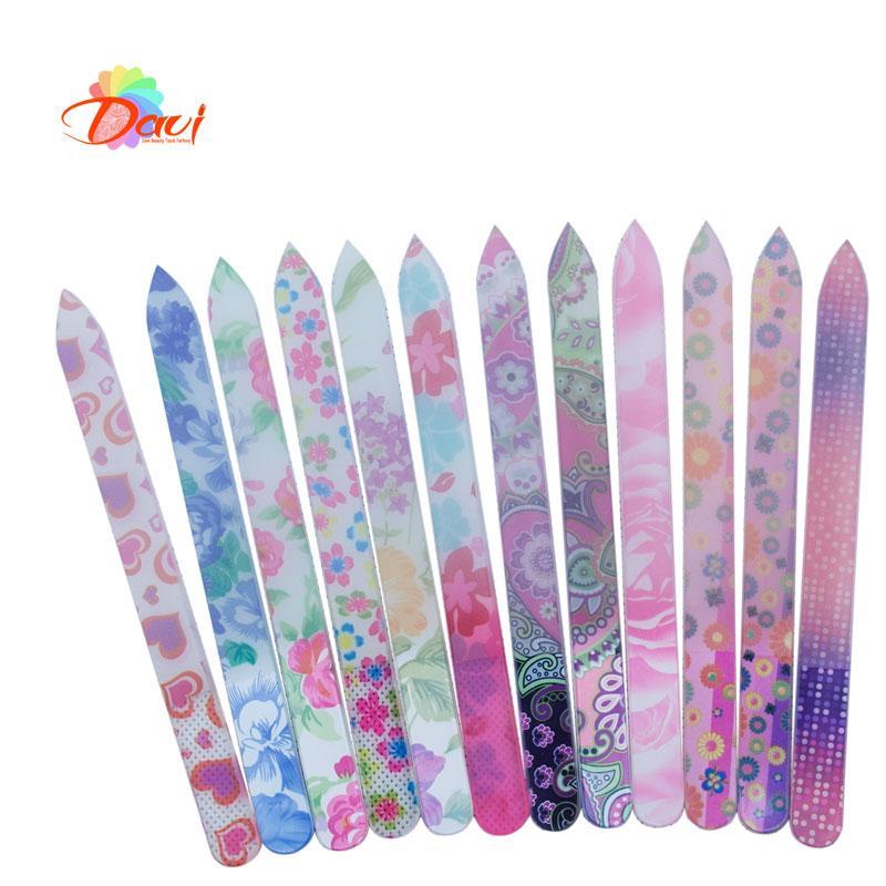 20pcs / lot en verre Lime à ongles en cristal durable nouveau motif de fleurs Limes à ongles Art soin Files Tool FREE SHIPPING-1012 GNF