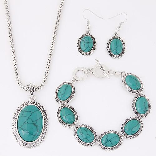 Fashion All Match Elegant Red Blue Stone Jewelry Sets Oval Necklace Earrings Bracelet Suit For Party