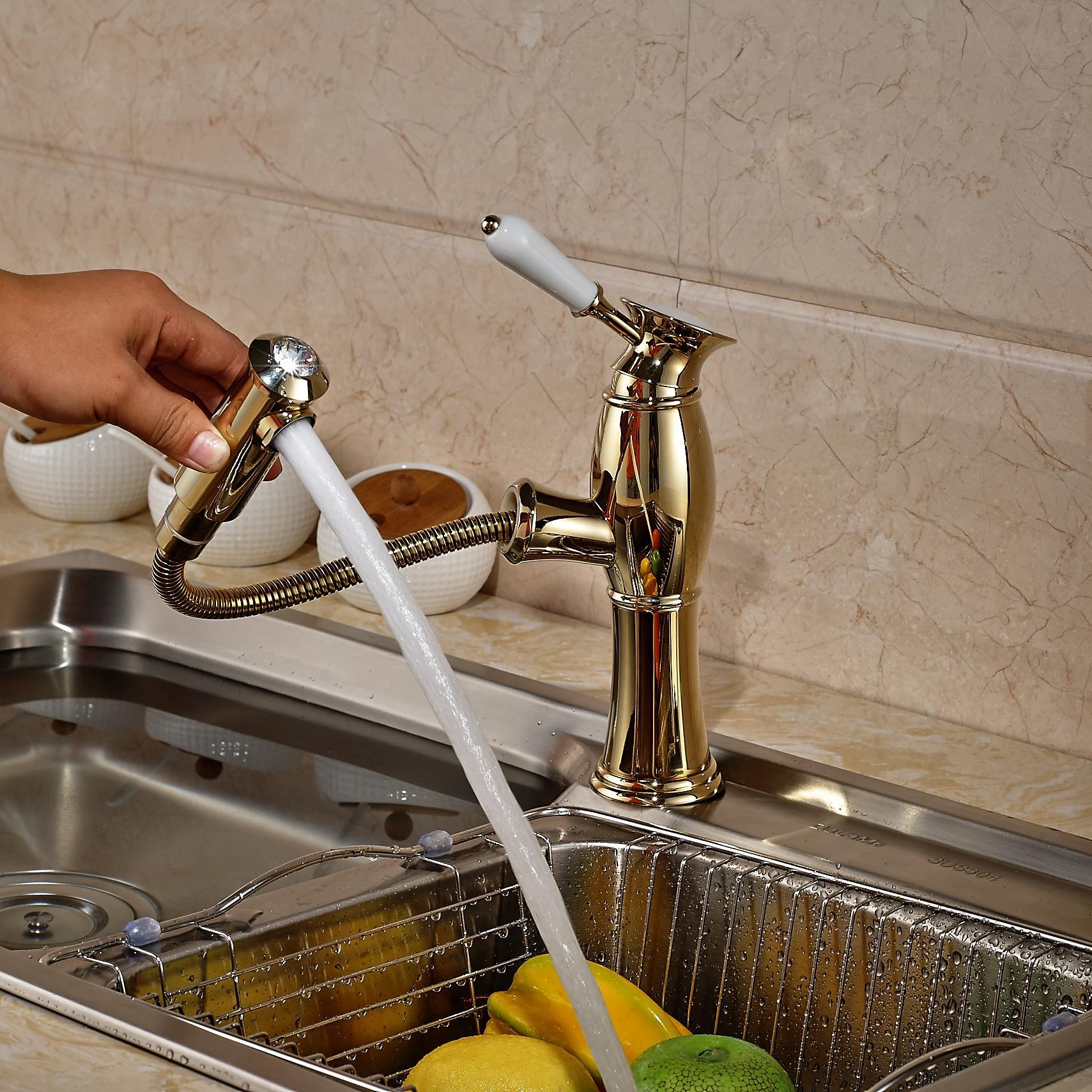 Роскошный золотой латуни вытащить кухонный кран керамическая ручка раковина смеситель кран палубе горячей и холодной воды