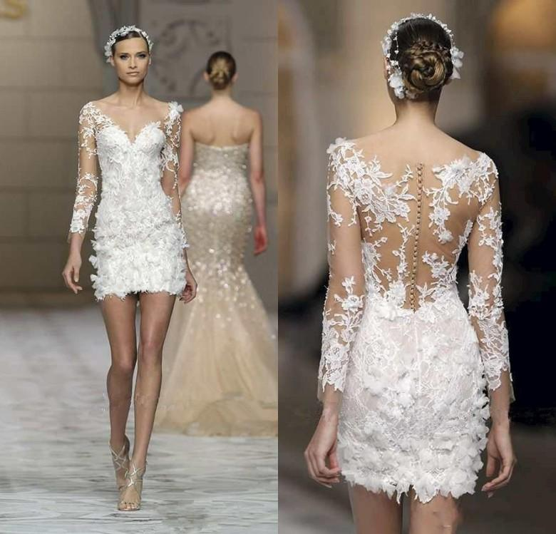 Short Beach Wedding Dresses 2016 Zuhair Murad Lace With Sheer Illusion Long Sleeves V Neck