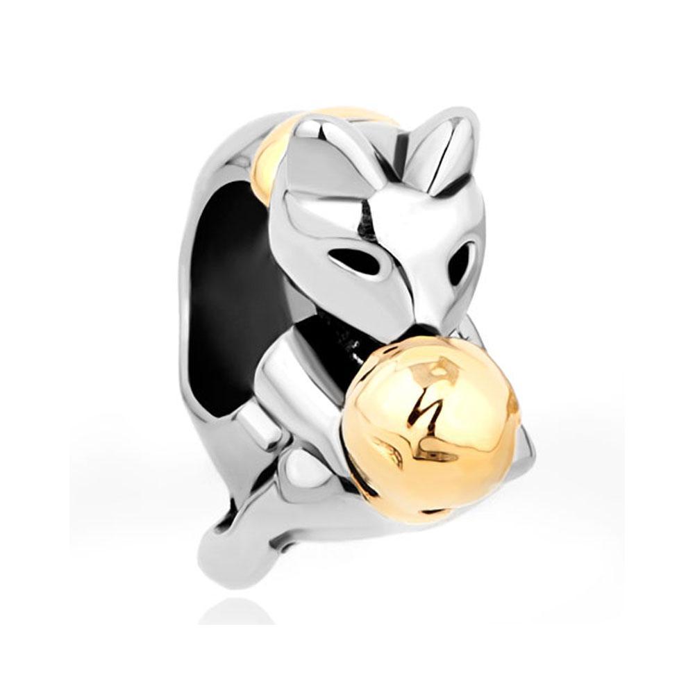 Silberfarbe Plating Cat Spielen Gold Plating Woolen Garn Ball Bead europäischen Charme Fit Pandora Armband
