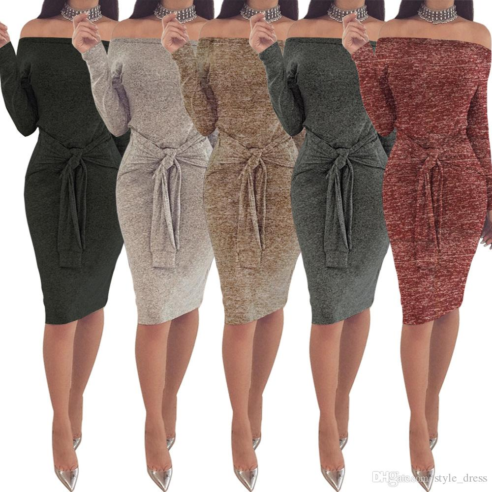 Off Shoulder Slash Neck Women Dress Long Sleeve Slim Bodycon Knee-Length Party Night Sexy Club Dress