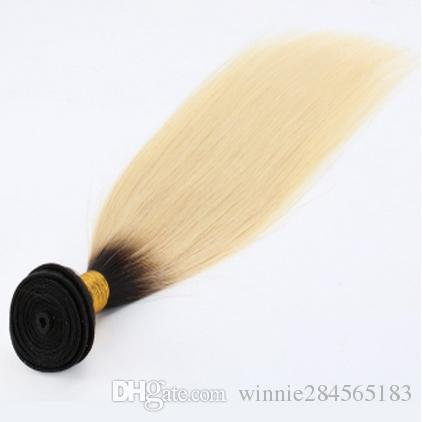 Malaysian Virgin Hair Weaving Charming Hair Ombre Color 1B613 Bleach Blonde Straight Malaysian Hair Weaves 1 Bundle per Pack