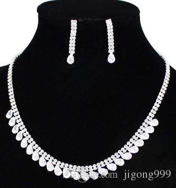 more color diamond drops wedding bride jewerly set necklace(41+6cm) earings (0..5*3.2cm) (400-cn )