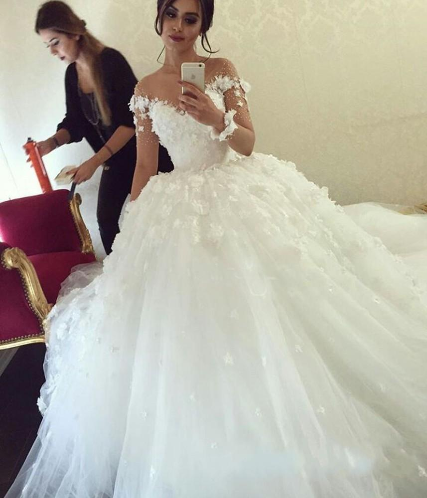 2016 Modern Lace Crystal Plus Size Ball Gown Wedding Dresses Illusion Neck  Long Sleeves Flowers Sweep Train Plus Size Formal Bridal Gowns Organza ...