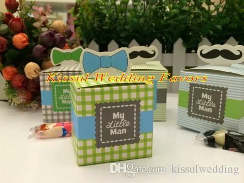 """250pcs / lot La faveur de douche de bébé la plus favorable de """"mon petit homme"""" boîte de faveur de bébé pour le cadeau d'anniversaire de bébé et la boîte de cadeau de partie 4 couleurs pour le cadeau de mariage"""