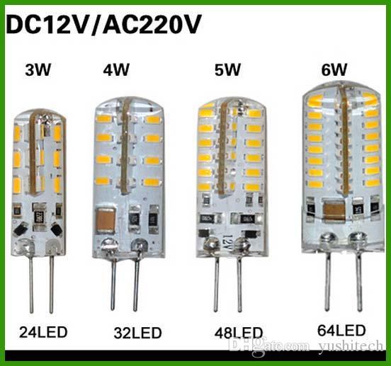Горячие продаж SMD 3014 G4 110V 3W 4W 5W 6W мозоли СИД кристаллический светильник свет DC 12V / AC 220V LED лампа Люстра 24LED 32LED 48LED 64LEDs