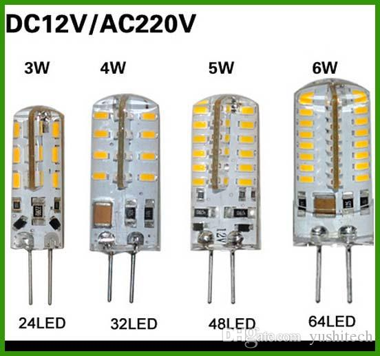 핫 판매 SMD 3014 G4 110V 3W 4W 5W 6W LED 옥수수 크리스탈 램프 빛 DC 12V / AC 220V LED 전구 샹들리에 24LED 32LED 48LED 64LEDs
