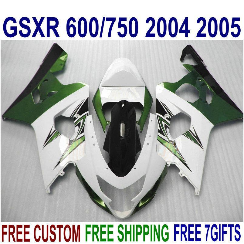 Fairings bodywork set for SUZUKI GSXR600 GSXR750 04 05 K4 GSX-R 600/750 2004 2005 green white custom fairing kit QE96