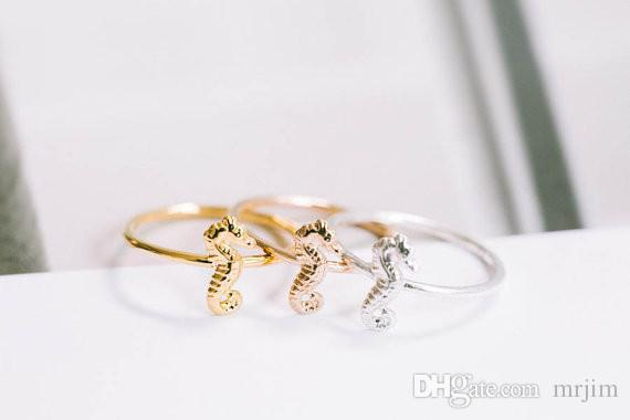 패션 18k 금 도금 귀여운 동물 해마 반지 도매 무료 배송