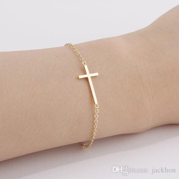 regard détaillé vente en ligne le meilleur Acheter B009 Or Argent Horizontal Sur Le Côté Croix Bracelet Simple  Minuscule Petit Religieux Croix Bracelet Cool Foi Chrétienne Croix  Bracelets De ...