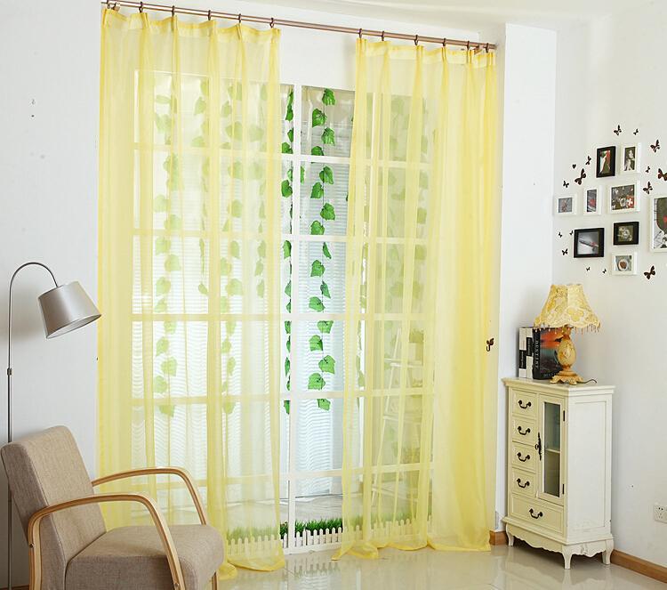 Decorazioni calde di vendita Tende di Tulle molli per la casa Bianco / rosa / giallo / verde / blu / Tende Voile tinta unita